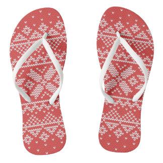Christmas White & Red Snowflake Knitting Pattern Flip Flops