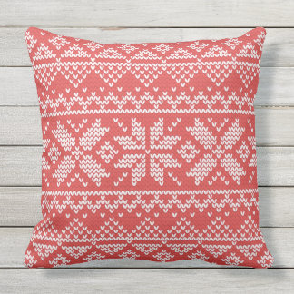 Christmas White & Red Snowflake Knitting Pattern Outdoor Pillow