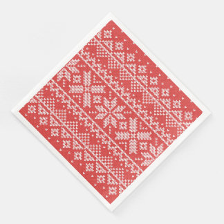 Christmas White & Red Snowflake Knitting Pattern Paper Napkin