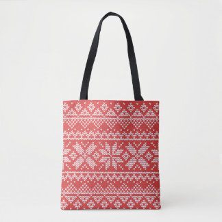 Christmas White & Red Snowflake Knitting Pattern Tote Bag