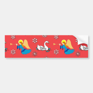 Christmas – White Swans & Brown Top Hats Bumper Sticker