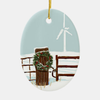 Christmas Wind Farm Ornament