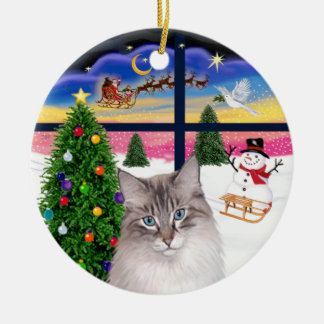 Christmas Window - Ragdoll cat Ceramic Ornament