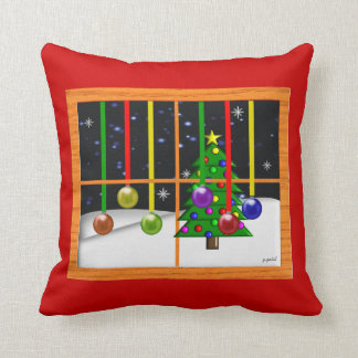 Christmas Window Scene Pillow Art