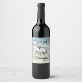 Christmas wine bottle with winter design. wine label