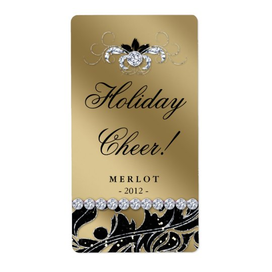 Christmas Wine Label Glitter Leaves Gold Black