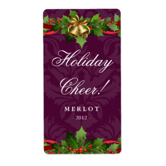 Christmas Wine Label Holly Gold Bells Damask Plum Shipping Label