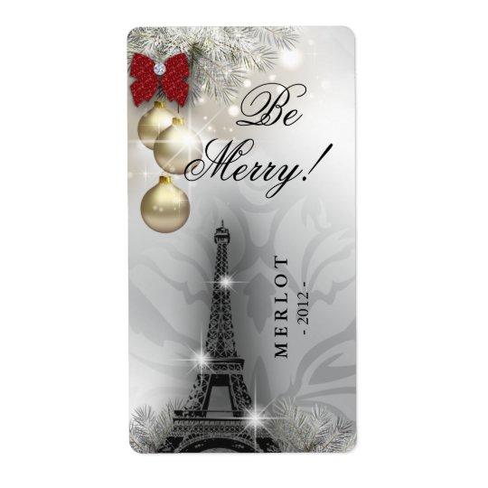 Christmas Wine Label Paris Eiffel Tower