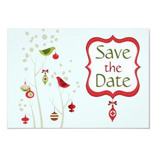 Christmas Winter Birds Wedding Save the Date Card