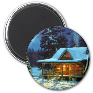 Christmas Winter Cabin Magnet