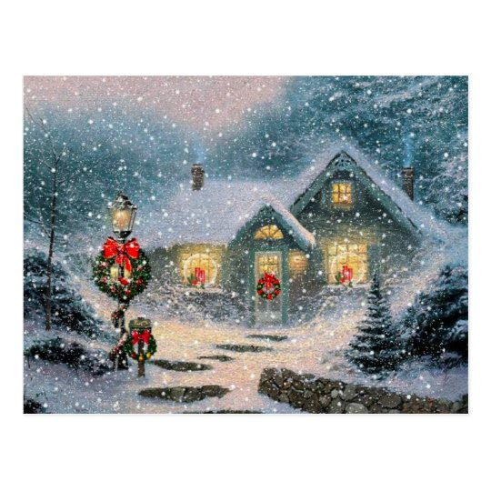 Christmas Winter Cottage Postcard