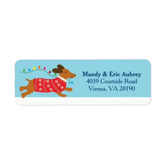 Christmas Winter Dachshund Dog Return Address Label