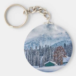 Christmas winter landscape white keychain