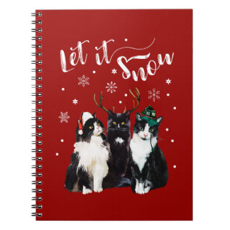 Christmas, Winter. Let it snow. Cats, Watercolor Notebooks