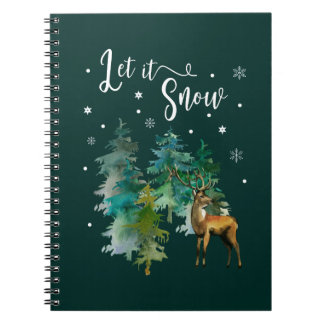 Christmas, Winter. Let it snow. Reindeer, Forest Notebook