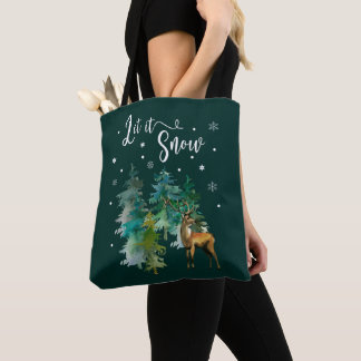Christmas, Winter. Let it snow. Reindeer, Forest Tote Bag