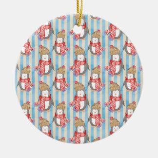 Christmas Winter Penguin Ceramic Ornament