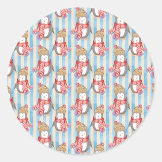Christmas Winter Penguin Classic Round Sticker