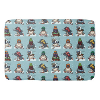 Christmas Winter Penguin Snowball Fight Cartoon Bath Mat