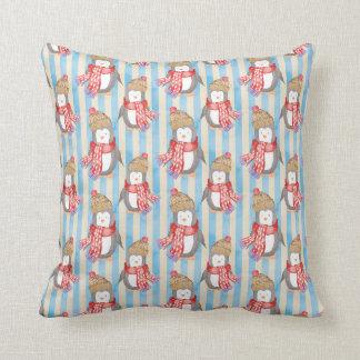 Christmas Winter Penguin Throw Pillow