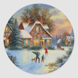 Christmas Winter Play Time Classic Round Sticker