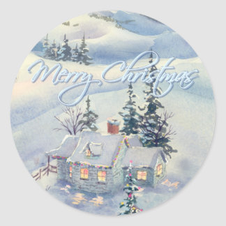 CHRISTMAS WINTER SCENE by SHARON SHARPE Classic Round Sticker