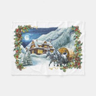 Christmas Winter Scene Small Fleece Blanket