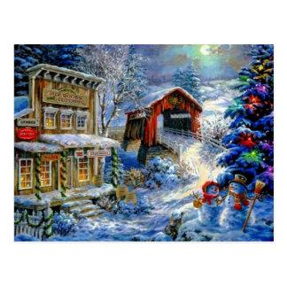 Christmas Winter Snowman Scene Postcard