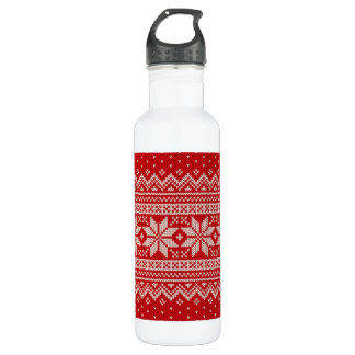 Christmas Winter Sweater Knitting Pattern - RED 710 Ml Water Bottle