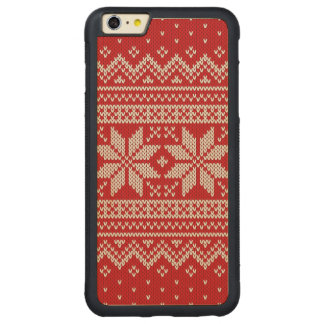 Christmas Winter Sweater Knitting Pattern - RED Carved Maple iPhone 6 Plus Bumper Case