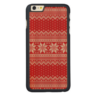 Christmas Winter Sweater Knitting Pattern - RED Carved Maple iPhone 6 Plus Case