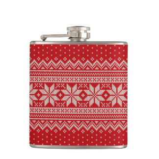Christmas Winter Sweater Knitting Pattern - RED Hip Flask