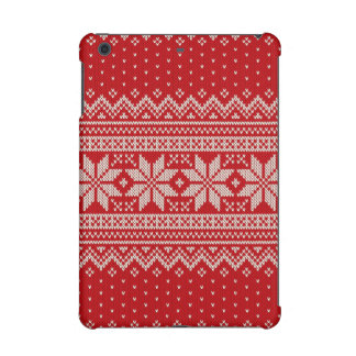 Christmas Winter Sweater Knitting Pattern - RED iPad Mini Retina Cases
