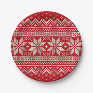 Christmas Winter Sweater Knitting Pattern - RED Paper Plate