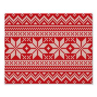 Christmas Winter Sweater Knitting Pattern - RED Photo Print
