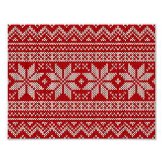 Christmas Winter Sweater Knitting Pattern - RED Poster