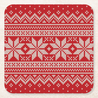 Christmas Winter Sweater Knitting Pattern - RED Square Paper Coaster