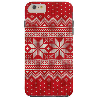 Christmas Winter Sweater Knitting Pattern - RED Tough iPhone 6 Plus Case