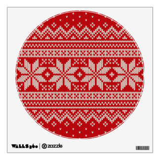 Christmas Winter Sweater Knitting Pattern - RED Wall Sticker