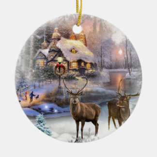 Christmas Winter Wilderness Cottage Ceramic Ornament