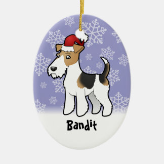 Christmas Wire Fox Terrier Ceramic Ornament