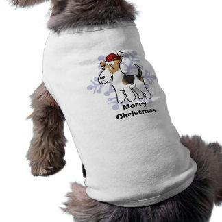 Christmas Wire Fox Terrier Pet Tee Shirt