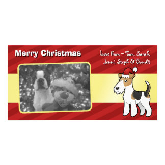 Christmas Wire Fox Terrier Photo Card