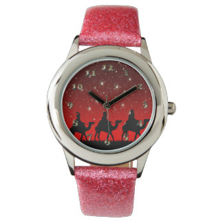 Christmas Wise Men Red Sky Star Lite Night Wristwatches