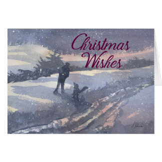Christmas Wishes blank card, man & his dog winter Card