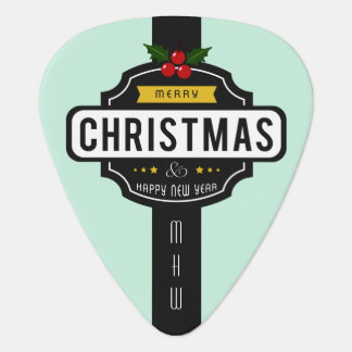 Christmas Wishes custom monogram guitar pick