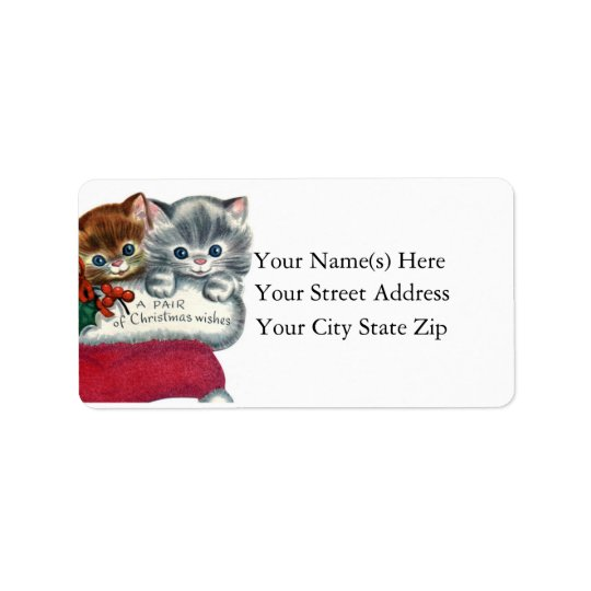 Christmas Wishes From Kittens Christmas Label