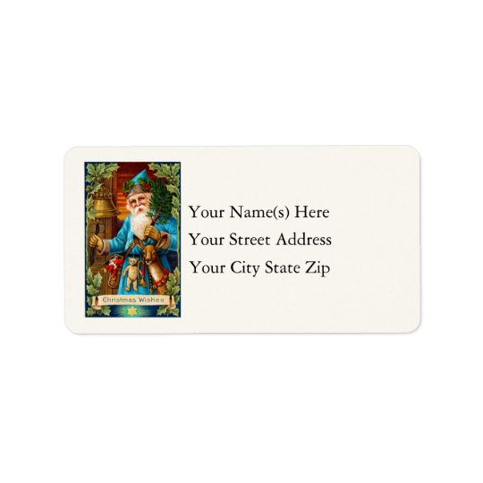 Christmas Wishes From Santa Vintage Address Label