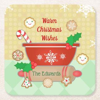 Christmas Wishes Holiday Custom Baking Coasters