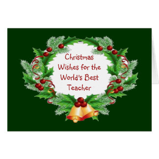 Christmas Wishes Holly Berry Wreath for Teacher Cards